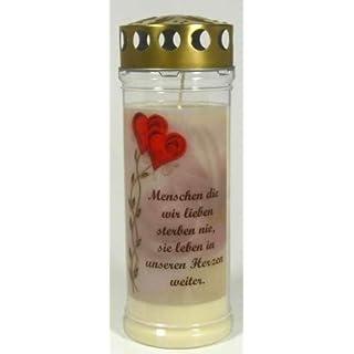 Grablichtkerze, Grabkerze, Menschen die wir lieben - 21x7,5 cm - 3737 - ca. 7 Tage Brenndauer - Grabkerze mit Motiv und Spruch - Trauerkerze mit Foto und Spruch