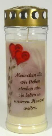 Grablichtkerze, Grabkerze, Menschen die wir lieben - 20x7,5 cm - 3737 - ca. 7 Tage Brenndauer - Grabkerze mit Motiv und Spruch - Trauerkerze mit Foto und Spruch
