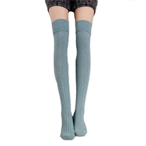 Cindeyar 1 Paar Damen Overknee Strümpfe Lange Kniestrümpfe Retro Schüler Überknie Strick Socken (Hellblau)