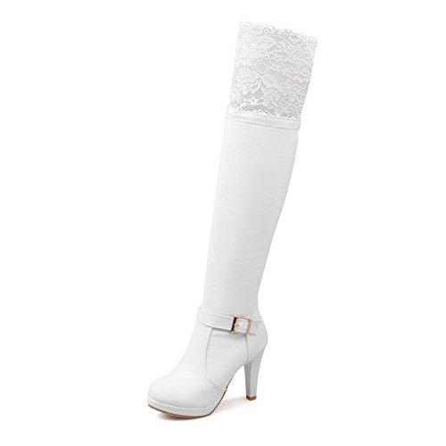 Tallone Donna Di Solido Bianco Con Agoolar Fibbia Metallo Rotonda Stivali Alti Colore HrqwAxt7r