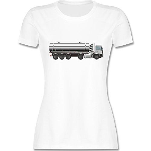 Andere Fahrzeuge - Tankwagen Tanklaster Tanklastwagen - tailliertes Premium T-Shirt mit Rundhalsausschnitt für Damen Weiß