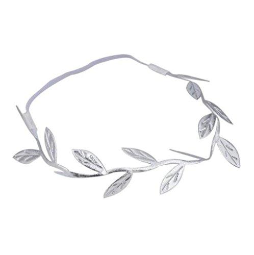 Joyas para el pelo, Sannysis pelo delicado accesorios elásticos de la venda, Hojas bronceadores (Plata)