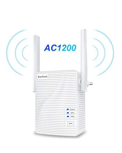 BrosTrend WLAN Repeater Verstärker AC1200 Dual-WLAN AC+N bis zu 867 MBit/s 5 GHz + 300 MBit/s 2,4 GHz, mit LAN-Port, AP-Modus, WLAN Bridge, kompatibel mit jedem WLAN Gerät, Weiß