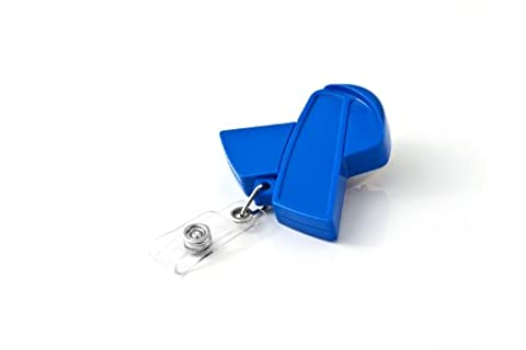 KEY-BAK RETRACT-A-BADGE ID Blue Ribbon Shaped 5-Pack Retractable Reel with 36 Inch (91.4 cm) Cord, Swivel Bulldog Clip, Vinyl ID Strap, Blue, Premium