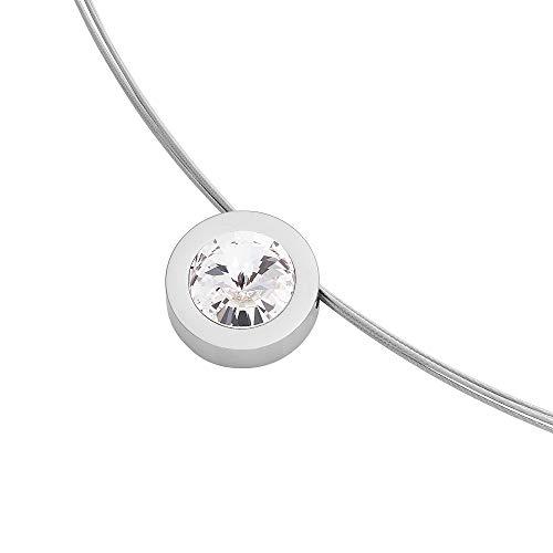 Heideman Halskette Damen Coma 16 aus Edelstahl Silber farbend poliert Kette für Frauen mit Anhänger Swarovski Stein Kristall Weiss im Fantasie Edelsteinschliff