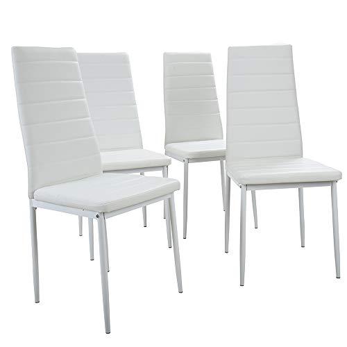 Warm room sedia da pranzo, 4 pezzi in ecopelle schienale alto/sedie da pranzo bianche set di seduta in metallo nero con imbottitura della seduta,white