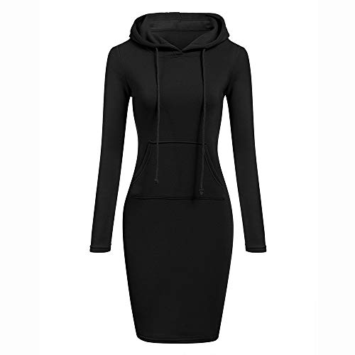 Kleider Damen,Lange Ärmel Pulloverkleid Einfarbig Hoodie Bodycon Kleid Freizeit Kordelzug Partykleid Mit Tasche Mode Slim Fit Minikleid Resplend (Halloween-kostüme Fashion Bug)