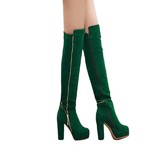 Geili Damen Overknees Stiefel mit Blockabsatz Frauen Elegante -