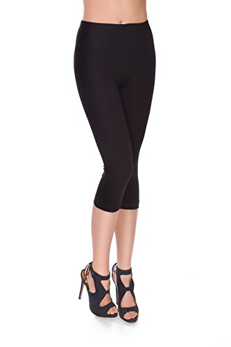 FUTURO FASHION Leggings 3/4 Coton Extra Confort Pantalon Court Grandes Tailles MIDL 38, Noir