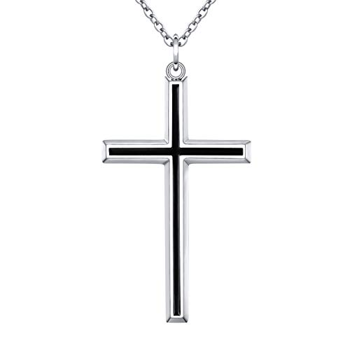 Flyow Retro Stil 925 Sterling Silber Schwarz Kreuz Anhänger Halskette Herren 60 cm Silber Kette Schmuck Geschenk für Herren oder Freund, mit Schmuckbox