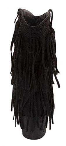 Elara Damen Stiefeletten | Fransen Perlen Indianer Style | Wildlederoptik Zipper Schwarz