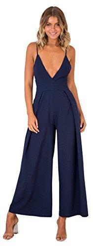 Longwu Frauen Sexy V-Ausschnitt Spaghetti Strap Jumpsuit Ärmelloses Rückenfreies Kleid Breites Bein Overalls Blau-XL (Jumper V-ausschnitt Plissee)