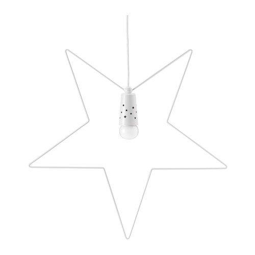 IKEA STRALA Suspension en métal en forme d'étoile Blanc 55 cm
