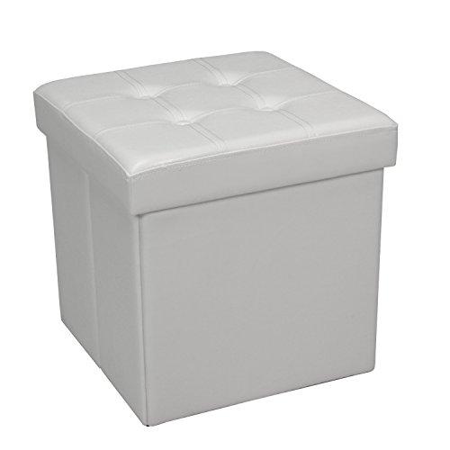 PAME 43431 - Puff plegable de polipiel, 45 x 45 x 45 cm, color blanco