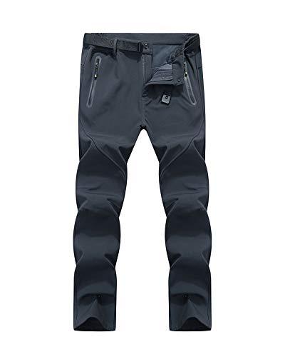 Yonglan Herren/Damen Outdoor Dünne Softshell Atmungsaktive Wasserdichte Wanderhose Sport Cargo Pants Grau 7XL
