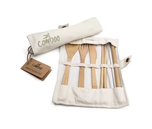 comboo® - Bambus Besteck Set| Reisebesteck | umweltfreundliches Besteckset | Messer, Gabel, Löffel, Stäbchen und Strohhalm| Besteck Holz | Besteck für unterwegs inkl. Tasche | 20 cm (Cremeweiß)