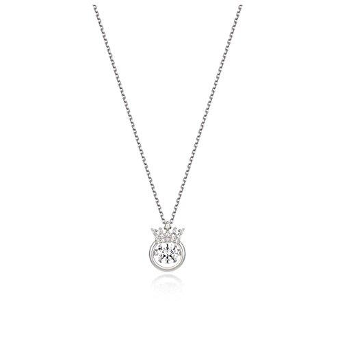 Aoligei S925 Sterlingsilber Smart Krone Halskette Mode Hohl Einzelne Bohrer schlagendes Herz (Schlagendes Herz)