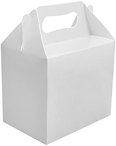 6 x Blanc Uni Boites Fête Nourriture Jouet Butin Déjeuner Jeu Cadeau Marriage/Enfants