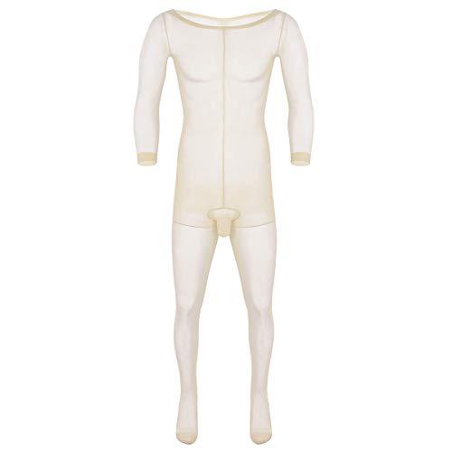 iEFiEL Durchsichtig Männer Body Unterwäsche Unterhemd Herren Bodysuit Overall Jumpsuit Ganzkörperanzug Strumpfhosen mit Penishülle Nude One Size