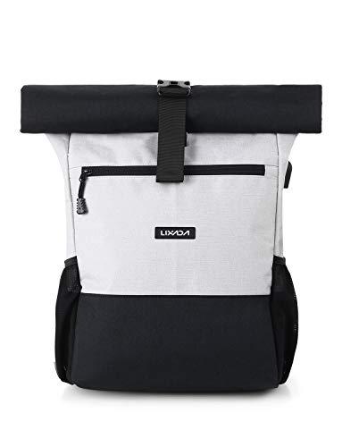 Lixada Roll Top Rucksack Herren Damen aus Canvas Wasserdicht Laptop Tagesrucksack 18L-26L Max. Für 17 Zoll