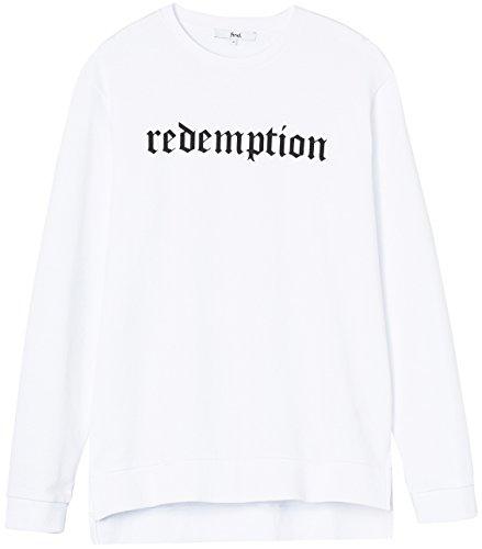 """FIND Herren Sweatshirt mit """"Redemption""""-Print-Slogan Weiß (White)"""