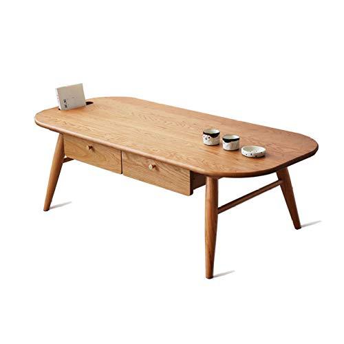 nouler Massivholz Einfache Couchtisch Kreative Persönlichkeit Tee Tisch Schublade Ovales Geschenk,Elliptischer Ti,S -