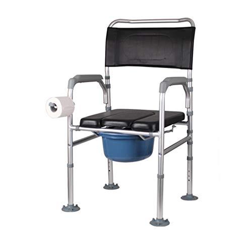 YYNChr Silla WC Asiento de Inodoro para Personas Mayores Ajustable con Gancho para Toallas de Papel, cómoda y Plegable portátil cómoda (Size : B)