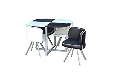Space Saver Glass Table & 4 Chairs Black and White - cheap UK light store.