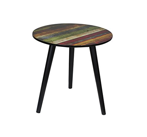 Runder Couchtisch / Beistell-tisch im Retro-Stil, Sofatisch mit drei Beinen Ø40cm (Bunt)