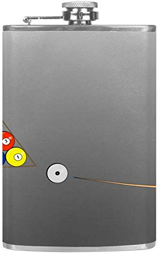 Auslaufsicherer Spirituosen-Flachmann 7,6 Unzen Flagon Mug Lederbezug mit Play Billiards Graphics-Taschenbehälter für diskreten Schnaps