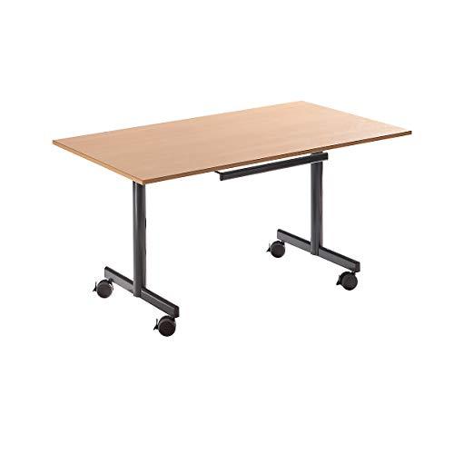 Sodematub Tisch mit abklappbarer Platte, mobil - HxBxT 720 x 1400 x 800 mm - Buche-Dekor - Klapptisch Konferenztisch Mehrzwecktisch Rolltisch...