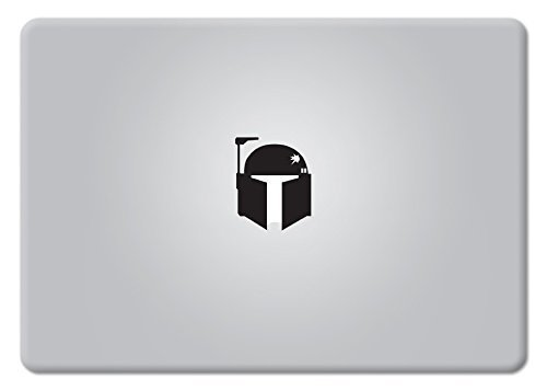 Boba Fett Helm Star Wars MacBook Aufkleber Vinyl Aufkleber Apple Mac Air Pro Retina Laptop Aufkleber Black for MacBooks with Backlit Apple Logo -