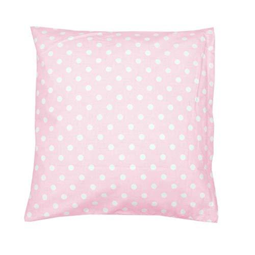 TupTam Kissenbezug Gemustert, Farbe: Tupfen Rosa, Größe: 80x80 cm