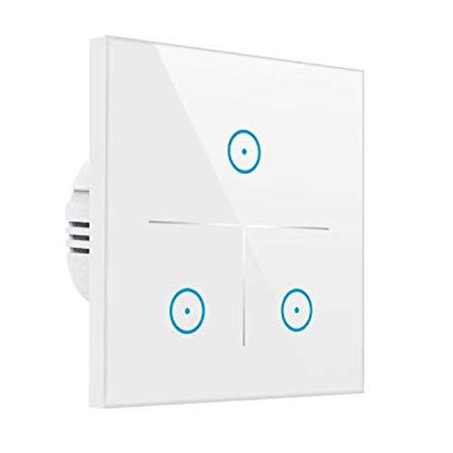 Smart Alexa Lichtschalter,MEAMOR WiFi Funk Wasserdicht Touch Wandschalter Kein Hub erforderlich,Kompatibel mit Alexa/Google Assistant/Smartphone(3 Gang) -