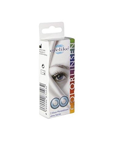 Eyelike farbige Monatskontaktlinse ohne Dioptrie blau, 2 Monatskontaktlinsen