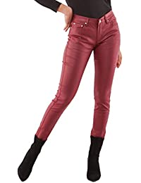 d64cf968f2ebd Crazy Lover Women's stretch Leather look Jeans Trousers Slim Skinny Dark  Red Sizes UK 6-