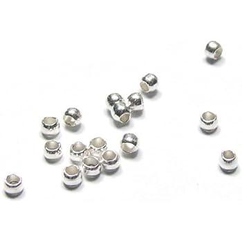 2 mm 100er Pack Crimp Perlen platinfarben