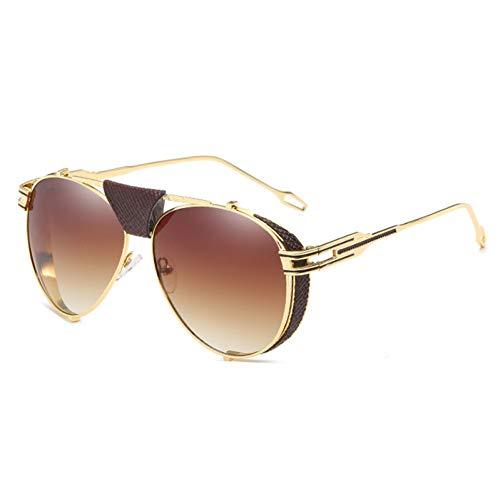 XJWDTYJ Herren Schild Sonnenbrille Herren Schwarz Braun Blau Spiegel Gold Metallrahmen Retro Sonnenbrille Herren Accessoires Uv400