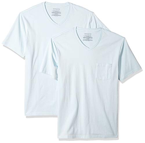 Pack Slim-Fit V-Neck Pocket T-Shirt, Blau (Light Blue Lbl), X-Small (EU XS) ()