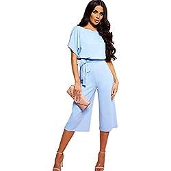 Longwu Mujeres Casual Elegante Cintura Alta Mono de Manga Corta Pantalones de Pierna Ancha Ocasionales Mamelucos Sueltos con cinturón Azul Claro-L