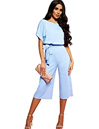 aaab7fd9e Longwu Mujeres Casual Elegante Cintura Alta Mono de Manga Corta Pantalones  de Pierna Ancha Ocasionales Mamelucos
