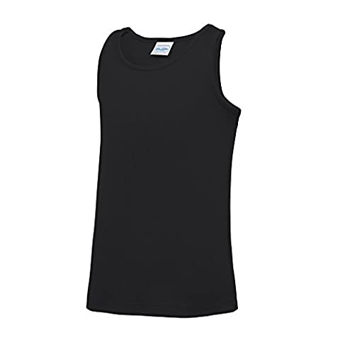 AWDis Just Cool Childrens/Kids Plain Sleeveless Vest Top (9-11 Years) (Jet Black)