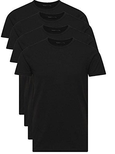JACK & JONES Herren T-Shirt Basic 4er PACK O-Neck V-Neck Tee S M L XL XXL (M, 4er O-NECK schwarz)