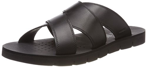 Geox u glenn f, sandali punta aperta uomo, nero (black), 41 eu