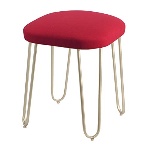 Baumwolle Leinen Make-up Hocker Stühle Eisen Vanity Hocker Runde Schuh Bank Startseite Sofa Hocker (Champagner Silber Hocker Beine),RED