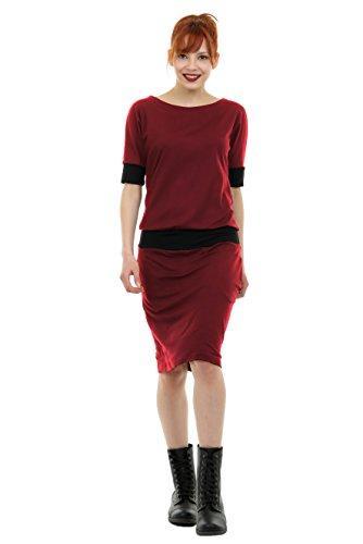 3Elfen Abendkleider Knielang Sommerkleid Fledermaus Jersey Kleid der Marke locker - Bordeaux L