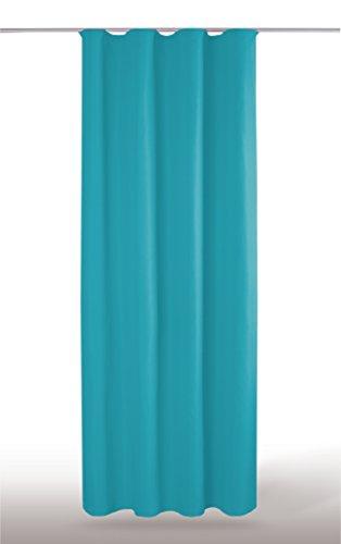 Blickdichte einfarbige Gardine in 4 vers. Ausführungen und in vielen Farben und Größen erhältlich, Auswahl: U-Band - B140xL245cm, türkis - petrol