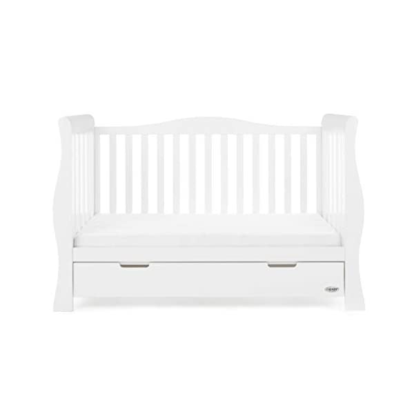 Obaby Stamford Sleigh Luxe Cot Bed - White Obaby Adjustable 3 position mattress height Bed ends split to transforms into toddler bed Includes matching under drawer for storage 11