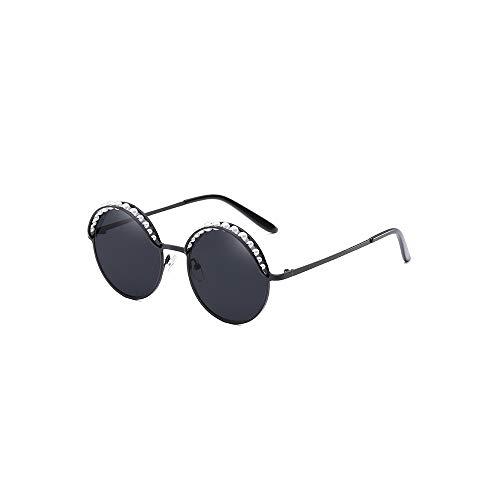 WJFDSGYG Designer-Runde Sonnenbrille-Frauen-Rosa-Goldmode Mit Perlen-Sonnenbrille Für Frauen-Metallfarbtöne Oculos