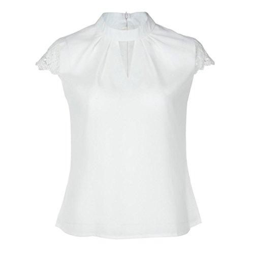 Challenge canotte donna estive,canottiera tinta unita, canotta camicetta maniche corta in chiffon t-shirt vest top vestiti estivi donna blouse camicie maglietta tops (bianca, l)